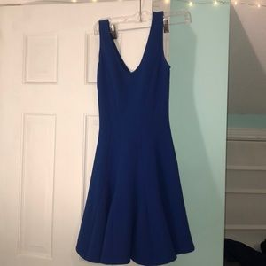 V neck royal blue fit and flare dress